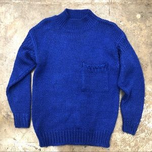 Encore Hand Knit Sweater Cobalt Blue Chunky Pocket
